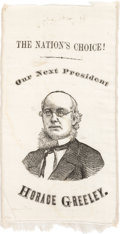 Political:Ribbons & Badges, Horace Greeley: Simply the Finest Single-Portrait Ribbon Known for this Important 1872 Democratic Candidate....