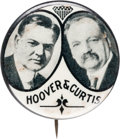 """Political:Pinback Buttons (1896-present), Hoover & Curtis: An Extremely Rare 1¼"""" Jugate...."""