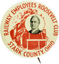 "Political:Pinback Buttons (1896-present), Franklin D. Roosevelt: The Key ""Stark County, Ohio RailwayEmployees Club"" 1¼"" Button...."
