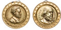 Political:Ferrotypes / Photo Badges (pre-1896), Ulysses S. Grant and Horace Greeley: Brass Shell Lockets....(Total: 2 Items)