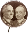 "Political:Pinback Buttons (1896-present), Harding & Coolidge: The Rare 7/8"" Mate to the Whitehead &Hoag Cox & Roosevelt Jugate...."