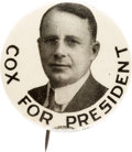 """Political:Pinback Buttons (1896-present), James M. Cox: A Fine 1¼"""" Pinback for this Tough Candidate...."""