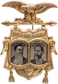 Political:Ferrotypes / Photo Badges (pre-1896), Hancock & English: Rare 1880 Jugate Pin with FerrotypePortraits....