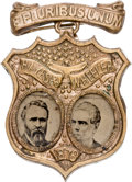 Political:Ferrotypes / Photo Badges (pre-1896), Hayes & Wheeler: Rare Ferrotype Shield Jugate....