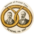 "Political:Pinback Buttons (1896-present), Roosevelt & Fairbanks: The Classic 2 1/8"" Reading ""PretzelTown"" Jugate...."