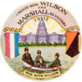 "Political:Pinback Buttons (1896-present), Woodrow Wilson: The Iconic 1¼"" ""I wood-row Wilson and Marshall toVictory"" Design...."
