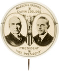 "Political:Pinback Buttons (1896-present), Harding & Coolidge: Dramatic 1¾"" 1920 Jugate, considered byMany the Most Desirable Jugate Design for this Ticket...."