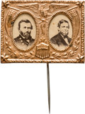 Political:Ferrotypes / Photo Badges (pre-1896), Grant & Colfax: A Striking Jugate Pin in Very ChoiceCondition....