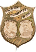 Political:Ferrotypes / Photo Badges (pre-1896), Garfield & Arthur: Rare 1880 Shield Jugate....