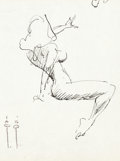 Original Comic Art:Sketches, Frank Frazetta - Seated Female Nude Sketch Original Art (undated)....