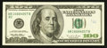 Error Notes:Skewed Reverse Printing, Fr. 2175-B $100 1996 Federal Reserve Note. Very Fine-ExtremelyFine.. ...