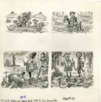 Jack Davis - Mad #181 and 304 Page Original Art, Group of 5 (EC, 1976-91). Jack Davis' satirical excellence shines in fi...