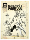 Original Comic Art:Covers, Paul Fung Jr. (attributed) - Dagwood #91 Cover Original Art(Harvey, 1958). A bear cub sends mountain-climbing Dagwood and D...