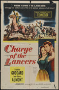 """Movie Posters:Action, Charge of the Lancers (Columbia, 1954). One Sheet (27"""" X 41""""). Adventure. Directed by William Castle. Starring Paulette Godd..."""