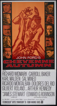 "Cheyenne Autumn (Warner Brothers, 1964). Three Sheet (41"" X 81""). John Ford's final Western stars Richard Widm..."