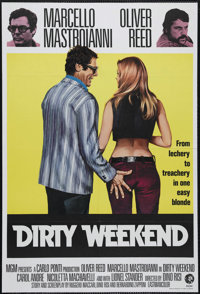 "Dirty Weekend (MGM, 1973). British One Sheet (27"" X 40""). Bank robber Oliver Reed kidnaps businessman Marcello..."