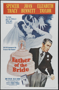 """Father of the Bride (MGM, R-1962). One Sheet (27"""" X 41""""). """"I always used to think that marriages were a s..."""