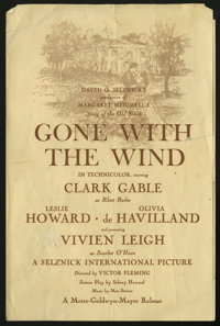 Gone With the Wind (MGM, 1939). Program (Multiple Pages). Clark Gable and Vivien Leigh star in this sweeping epic about...