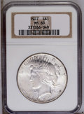 Peace Dollars: , 1927 $1 MS60 NGC. NGC Census: (34/2344). PCGS Population(58/3990).Mintage: 848,000. Numismedia Wsl. Price: $54. (#7370)...