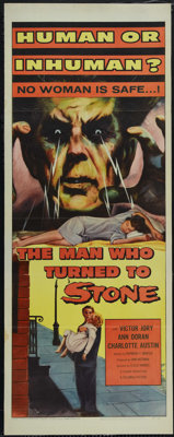 "The Man Who Turned to Stone (Columbia, 1957). Insert (14"" X 36""). A group of scientists led by Victor Jory has..."