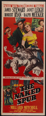 """The Naked Spur (MGM, 1953). Insert (14"""" X 36""""). From 1950-1955, Jimmy Stewart and director Anthony Mann made s..."""