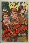 "Movie Posters:War, Remember Pearl Harbor (Republic, 1942). One Sheet (27"" X 41"").Great artwork poster with Donald Barry and Fay McKenzie vowin..."