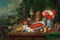 Fine Art - Painting, European:Antique  (Pre 1900), Georg Sommer (German, 1848-1917). Abundant Still Life withPheasant, Lobster, Fruit, and Flowers. Oil on canvas. 31-1/2...