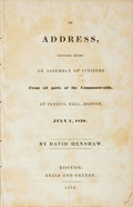 Books:Americana & American History, David Henshaw. An Address, Delivered Before an Assemblyof Citizens from all Parts of the Commonwealth, at F...