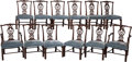 Furniture , A Set of Twelve Chippendale-Style Velvet Upholstered Mahogany Dining Chairs, 20th century. 36 inches high x 24-1/2 inches wi... (Total: 12 Items)
