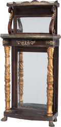 Furniture : Continental, An Empire-Style Carved Wood, Boulle and Brass Mirrored HallwayStand, late 19th century. 51 inches high x 23 inches wide x 1...