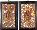 Asian:Chinese, A Pair of Chinese Reticulated, Painted and Partial Giltwood Panels,late 20th century. 35 inches high x 22 inches wide (88.9... (Total:2 Items)
