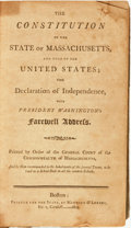 Books:Americana & American History, [Americana]. The Constitution of the State of Massachusetts, andThat of the United States; The Declaration of Independe...