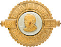 Political:Ferrotypes / Photo Badges (pre-1896), Grover Cleveland: Showy Brass & Cloth Campaign Badge....