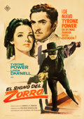 """Movie Posters:Swashbuckler, The Mark of Zorro (20th Century Fox, 1963). First Release Spanish One Sheet (27.5"""" X 39"""") MAC Artwork.. ..."""