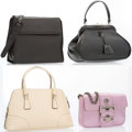 Luxury Accessories:Accessories, Prada Set of Four; Black Leather Top Handle Bag with Silver Hardware, Pink Satin & Silver Crystal Clutch with Gunmetal Hardwar... (Total: 4 Items)