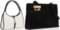 Luxury Accessories:Accessories, Gucci Set of Two: Black Suede Shoulder Bag with Gold Hardware &White Canvas and Black Leather Shoulder Bag with Silver Hardwa...(Total: 2 Items)