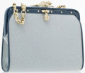 """Luxury Accessories:Accessories, Kieselstein Cord Blue Leather Top Handle Bag with Silver Hardware.Very Good Condition. 7.5"""" Width x 6"""" Height x 2"""" Width,..."""