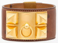 "Luxury Accessories:Accessories, Hermes Natural Barenia Leather Collier de Chien Bracelet with GoldHardware. Good Condition. 1"" Width x 9"" Length ..."