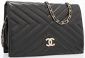 "Luxury Accessories:Accessories, Chanel Black Lambskin Leather Flap Bag with Gold Hardware . Goodto Very Good Condition. 10"" Width x 7"" Height x 2"" Depth,..."