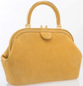 "Luxury Accessories:Bags, Judith Leiber Yellow Suede Top Handle Bag. Very Good to Excellent Condition. 12"" Width x 8"" Height x 4"" Depth, 4"" Stra..."