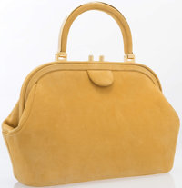 "Judith Leiber Yellow Suede Top Handle Bag Very Good to Excellent Condition 12"" Width x 8"" Height"