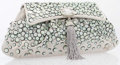 "Luxury Accessories:Bags, Judith Leiber Silver Satin Clutch. Excellent Condition. 11.75""Width x 6"" Height x 1"" Depth. ..."