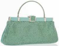 """Judith Leiber Green Satin and Crystal Evening Bag Excellent to Pristine Condition 8"""" Width x 3.5"""" Height x..."""