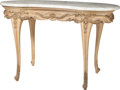 Furniture : French, A Louis XVI-Style Ovoid Carved Wood Center Table with Marble Top,late 19th century. 30-1/2 inches high x 47 inches wide x 2...(Total: 2 Items)