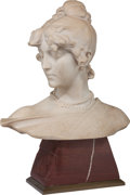 Fine Art - Sculpture, European:Antique (Pre 1900), Aristide Petrilli (Italian, 1868-1930). Bust of a YoungWoman. Marble. 17 inches (43.2 cm) high on a 6 inches (15.2 cm)...