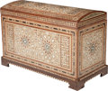 Furniture , A Moorish Hardwood Chest with Mother-of-Pearl and Bone Inlay, 20th century. 23 inches high x 36 inches wide x 17 inches deep...