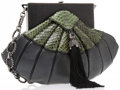 """Luxury Accessories:Bags, Judith Leiber Limited Edition by Andrew Gn Black Leather and GreenPython Evening Bag. Excellent Condition. 10"""" Width x 6...."""