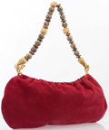 "Luxury Accessories:Bags, Judith Leiber Red Suede Shoulder Bag. Excellent Condition. 15"" Width x 8"" Height x .25"" Depth, 12.5"" Shoulder Drop. ..."