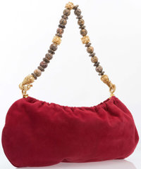 "Judith Leiber Red Suede Shoulder Bag Excellent Condition 15"" Width x 8"" Height x .25"" Depth, 12.5"" S..."