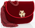 """Luxury Accessories:Bags, Judith Leiber Red Velvet Bag with Shoulder Strap. Very Good toExcellent Condition. 8"""" Width x 5"""" Height x 1.75"""" Depth. ..."""